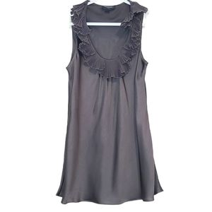 Spense Silver Gray Sleeveless Ruffled Collar Top